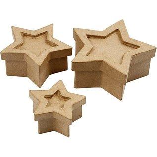 Objekten zum Dekorieren / objects for decorating 3 Schachteln in Sternform, größte Größe 15x15x6 cm