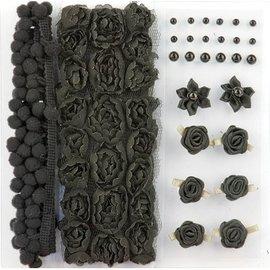 DEKOBAND / RIBBONS / RUBANS ... Poms y flores - Embellecimiento, pompones y flores fijaron negro