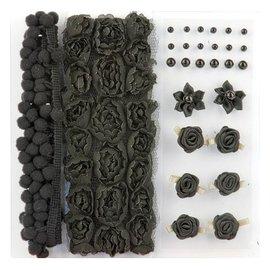 DEKOBAND / RIBBONS / RUBANS ... Poms & Flowers - abbellimento, pon pon e fiori Set Black