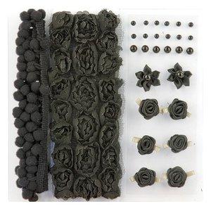 DEKOBAND / RIBBONS / RUBANS ... Poms & Flowers - Embellishment,pom poms & flowers set schwarz