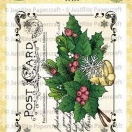 JUSTRITE AUS AMERIKA Justrite Postal de Navidad Cling Antecedentes sello