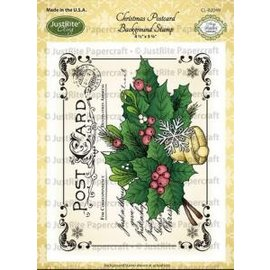 JUSTRITE AUS AMERIKA Justrite Christmas Post Card Background Cling Stamp