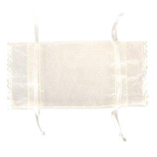 BASTELZUBEHÖR, WERKZEUG UND AUFBEWAHRUNG Sac d'organza, 14x8cm, SB-Btl 4Stück, ivoire