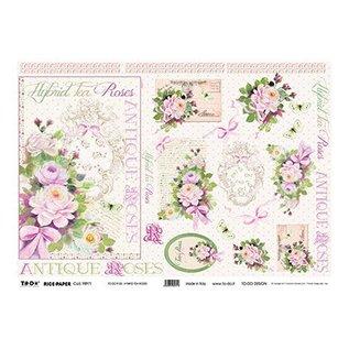 DECOUPAGE AND ACCESSOIRES Rijst Papier 35 x 50cm - Hybrid Tea Roses