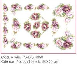 DECOUPAGE AND ACCESSOIRES Carta morbida 50x70cm - Crimson Roses