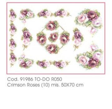 DECOUPAGE AND ACCESSOIRES Zacht papier 50x70cm - Crimson Roses