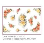 DECOUPAGE AND ACCESSOIRES Blødt papir 50x70cm - guirlander af Roses
