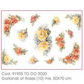 DECOUPAGE AND ACCESSOIRES Carta morbida 50x70cm - ghirlande di rose
