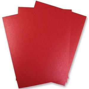 Karten und Scrapbooking Papier, Papier blöcke 5 vellen Metallic karton, Extra CLASS, in briljante rode kleur!