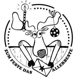 """Stempel / Stamp: Holz / Wood Stempel """"Zum Fest das Allerbeste"""" , 7x7cm - letzte Verfügbar!"""