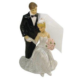 Embellishments / Verzierungen Polyresin bride and groom, 12 cm