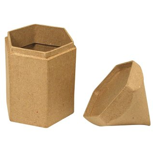 Objekten zum Dekorieren / objects for decorating Papier mache zeshoek containers, potlood, 9x8x16 cm