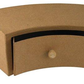 Objekten zum Dekorieren / objects for decorating Paper mache drawer cabinet, 30x12x10 cm, half round 1 drawer