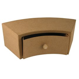 Objekten zum Dekorieren / objects for decorating Paper mache drawer cabinet, 30x12x10 cm, half round 1 drawer
