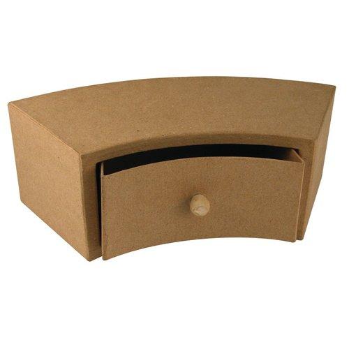 Objekten zum Dekorieren / objects for decorating Papmache skuffe skab, 30x12x10 cm, halv runde 1 skuffe