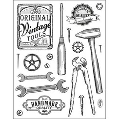 Transparent stamps, vintage tools
