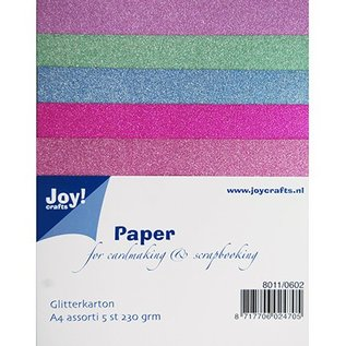 Karten und Scrapbooking Papier, Papier blöcke 5 Glitter carton in 5 different colors