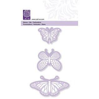 Cart-Us Ponsen en embossingmal, 3 vlinders, 45-48-76 mm
