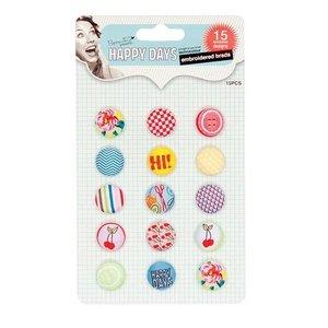 Embellishments / Verzierungen Embroidered Brads, Happy Days