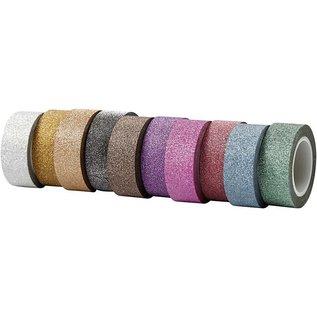 DEKOBAND / RIBBONS / RUBANS ... Zelfklevende tape met glitter finish in 10 verschillende. Suits van 6 m