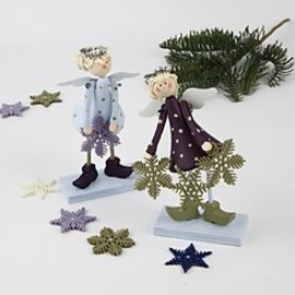 Objekten zum Dekorieren / objects for decorating Juego de 2 Ángel 15 cm en forma de campana, ángeles de pie de madera