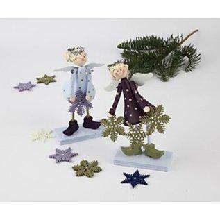 Objekten zum Dekorieren / objects for decorating Set van 2 Angel 15 cm klokvormige, staande engelen gemaakt van hout