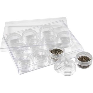 BASTELZUBEHÖR, WERKZEUG UND AUFBEWAHRUNG Acrylic Jars with screw cap, set of 12 cans