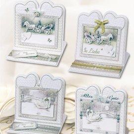 BASTELSETS / CRAFT KITS conjunto de material para 4 tarjeta de boda noble