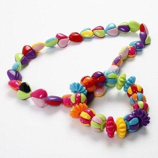 Kinder Bastelsets / Kids Craft Kits Tweedelige selectie acrylkralen harten in 9 grote kleuren