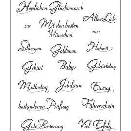VIVA DEKOR (MY PAPERWORLD) Timbri trasparenti, testo in lingua tedesca, 14x18cm