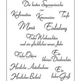 VIVA DEKOR (MY PAPERWORLD) sellos transparentes, texto alemán, 14x18cm