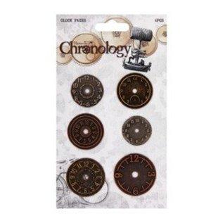 Embellishments / Verzierungen Metalen horloges, 6 stuks, Chronologie
