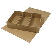 Objekten zum Dekorieren / objects for decorating Papmaché, hængslet-låg kasse, 29,5 x22x6, 5 cm, 3 indvendige dele løs