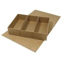 Pappmaché-Klappdeckel-Box, 29,5x22x6,5 cm, 3 Innenteile lose