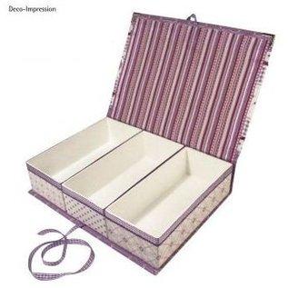 Objekten zum Dekorieren / objects for decorating Papier-mache, scharnierend deksel doos, 29,5 x22x6, 5 cm, 3 interne onderdelen los