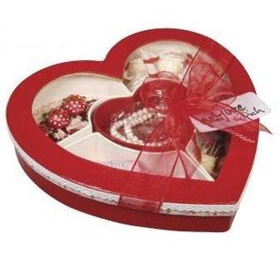 Objekten zum Dekorieren / objects for decorating Sorteerbox hart, 27x26x5cm, met venster, met 5 vakken