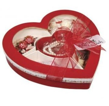 Objekten zum Dekorieren / objects for decorating Sorting box heart, 27x26x5cm, with window, with 5 compartments