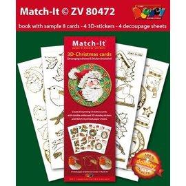 imágenes pre-impresa y pegatinas en relieve, para 8 tarjetas de Navidad 3D