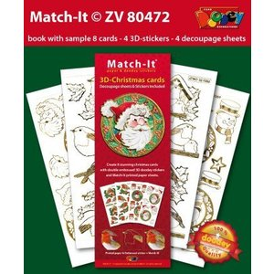 Pre-printed images and embossed stickers, for 8 3D Christmas cards