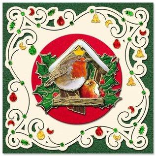 Fortrykte billeder og prægede klistermærker, til 8 3D julekort