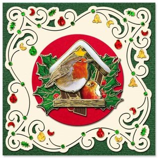 immagini prestampati e adesivi in rilievo, per 8 schede 3D di Natale