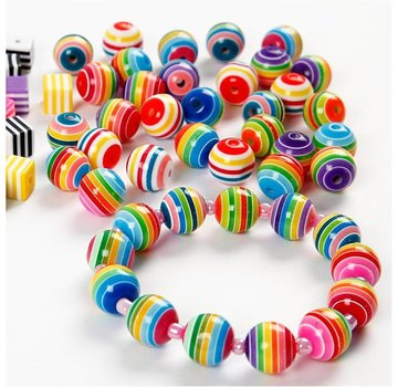 Set of 20 colorful beads with stripe pattern