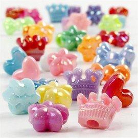 Kinder Bastelsets / Kids Craft Kits Sæt med 20 perler Figurenmix, D: 10 mm, assorterede farver
