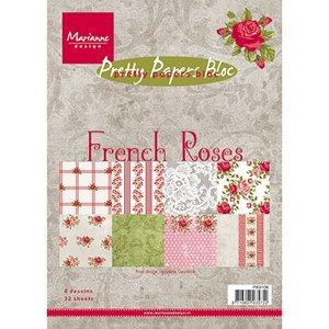 Karten und Scrapbooking Papier, Papier blöcke Jolis papiers, A5, Roses françaises, 32 feuilles, 4 x 8 motifs