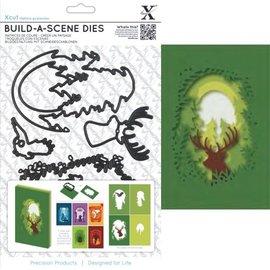 Docrafts / X-Cut Corte y cliché de estampado para una tarjeta de la caja de sombra, renos