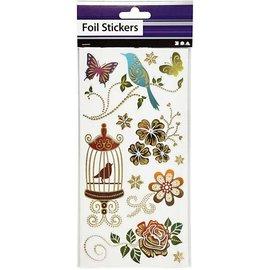 STICKER / AUTOCOLLANT Temmelig folie klistermærke, ark 10,4x29 cm, sortere med guld effekt, Spring, 4. Sheet