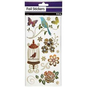 Sticker Pretty foil sticker, sheet 10,4x29 cm, sort with gold effect, Spring, 4. Sheet