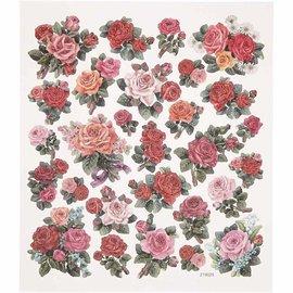 Sticker autocollant feuille feuille 15x16, 5 cm, roses, 1 feuille