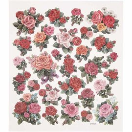 STICKER / AUTOCOLLANT Foil sticker sheet 15x16, 5 cm, roses, 1 sheet