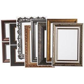 KARTEN und Zubehör / Cards Rahmen, Blatt 26,2x18,5 cm, metallic-farben, 16 sort. Blatt